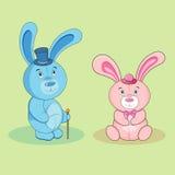 Tecknad filmkaninpojke och kaninflicka royaltyfria bilder