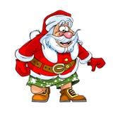 Tecknad filmkarikatyr av Santa Claus i kortslutningar Arkivbild