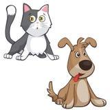 Tecknad filmkatt- och hundillustrationer royaltyfria bilder