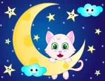 Tecknad filmkatt på månen Arkivbild