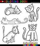 Tecknad filmkatter eller kattungar för färgläggningbok Arkivfoto