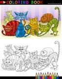 Tecknad filmkatter för färgläggningbok eller sida Royaltyfria Bilder