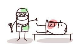 Tecknad filmkirurg med patienten på en tabell vektor illustrationer