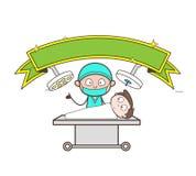 Tecknad filmkirurg och patient i illustration för vektor för operationteater vektor illustrationer
