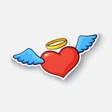 Tecknad filmklistermärke med ängelhjärta Royaltyfri Illustrationer