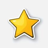 Tecknad filmklistermärke med den guld- stjärnan Vektor Illustrationer