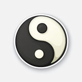 Tecknad filmklistermärke med det Yin och Yang symbolet i komisk stil Vektor Illustrationer