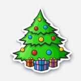 Tecknad filmklistermärke med julgranen i komisk stil Vektor Illustrationer