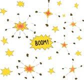 Tecknad filmklotterexplosioner Arkivbild