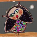 Tecknad filmklotterfågel, digital målningillustration Royaltyfri Fotografi
