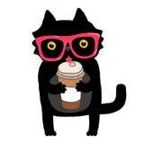 Tecknad filmklotterkatt med hipsterexponeringsglas och kaffe Royaltyfri Bild