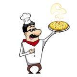 Tecknad filmkock med pizza Arkivfoton