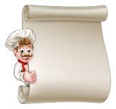 Tecknad filmkock Menu Scroll royaltyfri illustrationer
