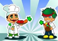 Tecknad filmkock och grönsakshandlare Royaltyfri Fotografi