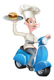 Tecknad filmkock på den var nedstämd sparkcykeln leverera hamburgaren Arkivbild