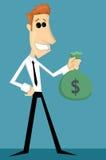 Tecknad filmkontorsarbetare med påsen av pengar Arkivfoton