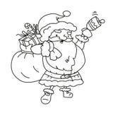 Tecknad filmkontur Santa Claus med påsegåvaklockan Royaltyfri Foto