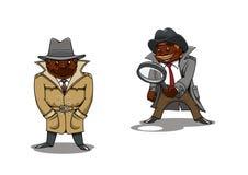 Tecknad filmkriminalare och spion med förstoringsapparaten Arkivfoton