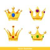 Tecknad filmkronaupps?ttning mall kronor fyra royaltyfri illustrationer