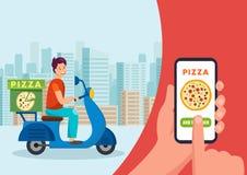 Tecknad filmkurir som går på sparkcykeln Pizzeriabegrepp royaltyfri illustrationer