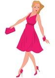 Tecknad filmkvinna, i att gå för rosa färgklänning Arkivbilder