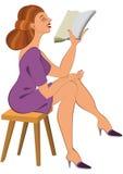 Tecknad filmkvinna i grön klänningläsning Arkivbilder
