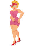 Tecknad filmkvinna i rosa färgklänninganseende med den öppna munnen Arkivfoton