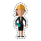 Tecknad filmkvinna med megafonarbetshjälmen stock illustrationer