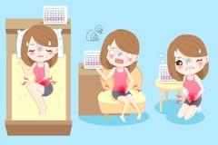 Tecknad filmkvinna med menstruation royaltyfri illustrationer