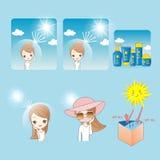 Tecknad filmkvinna med sunscream royaltyfri illustrationer