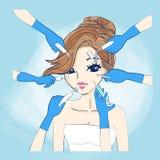 Tecknad filmkvinna och cosmetology vektor illustrationer