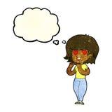tecknad filmkvinna som är förälskad med tankebubblan Royaltyfri Fotografi