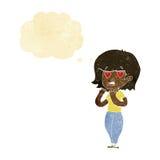 tecknad filmkvinna som är förälskad med tankebubblan Royaltyfria Bilder