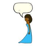 tecknad filmkvinna som drar fotoframsidan med anförandebubblan Royaltyfri Foto