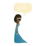 tecknad filmkvinna som drar fotoframsidan med anförandebubblan Royaltyfri Bild