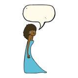 tecknad filmkvinna som drar fotoframsidan med anförandebubblan Arkivfoton