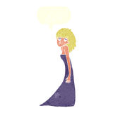 tecknad filmkvinna som drar fotoframsidan med anförandebubblan Arkivfoto
