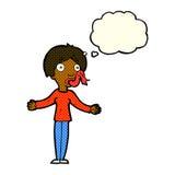 tecknad filmkvinna som ljuger med tankebubblan Arkivbild