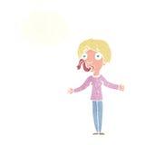 tecknad filmkvinna som ljuger med tankebubblan Royaltyfria Bilder