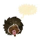 tecknad filmkvinna som skriker med anförandebubblan Arkivfoto