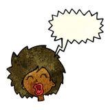 tecknad filmkvinna som skriker med anförandebubblan Arkivbild