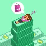 Tecknad filmkvinna som sovande faller på pengarbuntar och dröm om shopping Royaltyfri Bild
