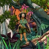 Tecknad filmkvinnahandelsresande i en färgrik djungel arkivfoton