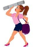 Tecknad filmkvinnan i rosa färger överträffar och slösar kjolen med lilapåsen Arkivfoton