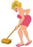 Tecknad filmkvinnan knackar in med golvborsten Arkivfoton