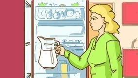 Tecknad filmkvinnan sätter till kylskåpet en karaff med vatten eller mjölkar Arkivbild