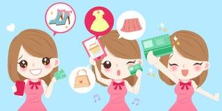 Tecknad filmkvinnan shoppar stock illustrationer