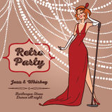 Tecknad filmkvinnor i sjungande jazzmusik för retro stil Royaltyfria Bilder