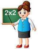 Tecknad filmlärarinna som pekar på svart tavla kursen av matematik royaltyfri illustrationer