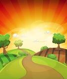 Tecknad filmlandsbakgrund i vår eller sommarsolnedgång royaltyfri illustrationer